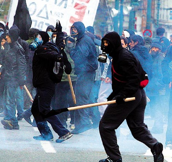 Protesters clash with riot police during an educational demonstration in Athens, Greece on 09 January 2009.